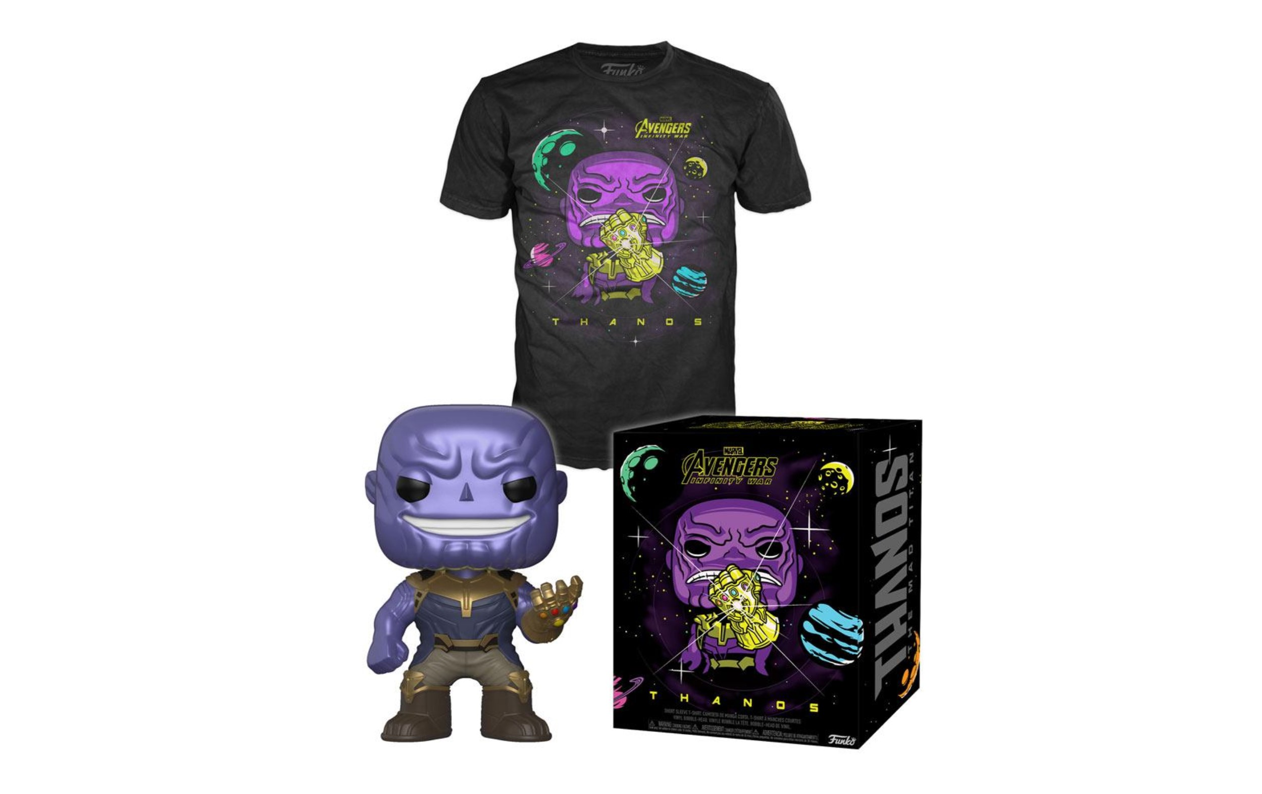 Marvel Avengers Thanos Metallic Pop and Tee Box Funko POP Vinyl Figure Taglia M