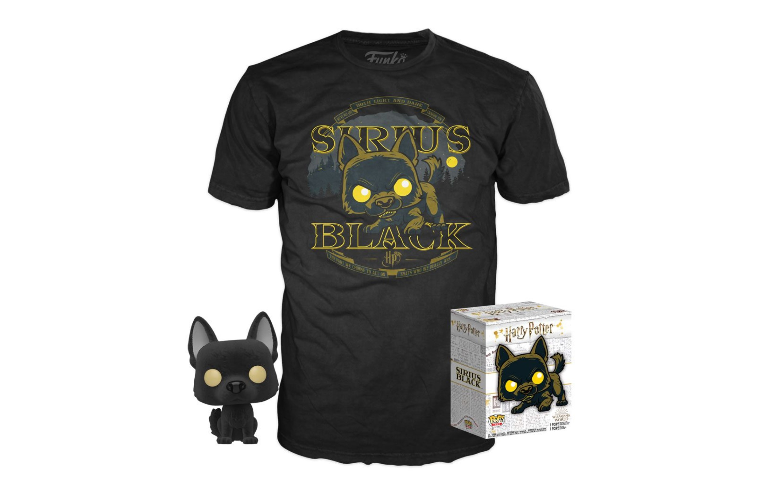 Harry Potter Sirius Black as Dog Flocked Pop and Tee Box Funko POP Taglia S